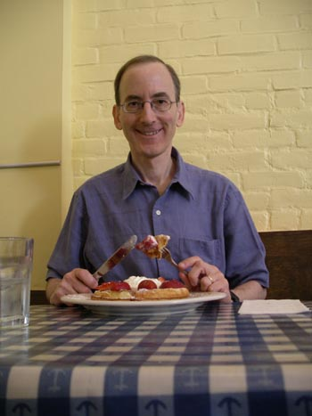 Paul with his Belgian waffles; photo credit=Deborah Hallen
